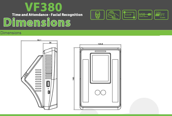 VF380 Biometric Time Attendance facial recognition